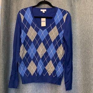 Charter Club Blue Argyle V-neck Sweater